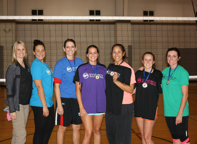 Courtesy photo   Members of the Synergy team, from left, Nicole Evans, Korin Cuico, Lara Allen, Jennifer Richards, Joceyln Hall, Sarah Lyster and Jennifer Cerny, smile after winning the parks and  ...
