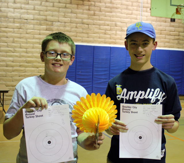 Courtesy photo Case Greene, right, winner of the sixth- through eighth-grade divsion of the Boulder City Parks and Recreation Department's annual Turkey Shoot, held Nov. 15 and 16 at ABC Park, is  ...