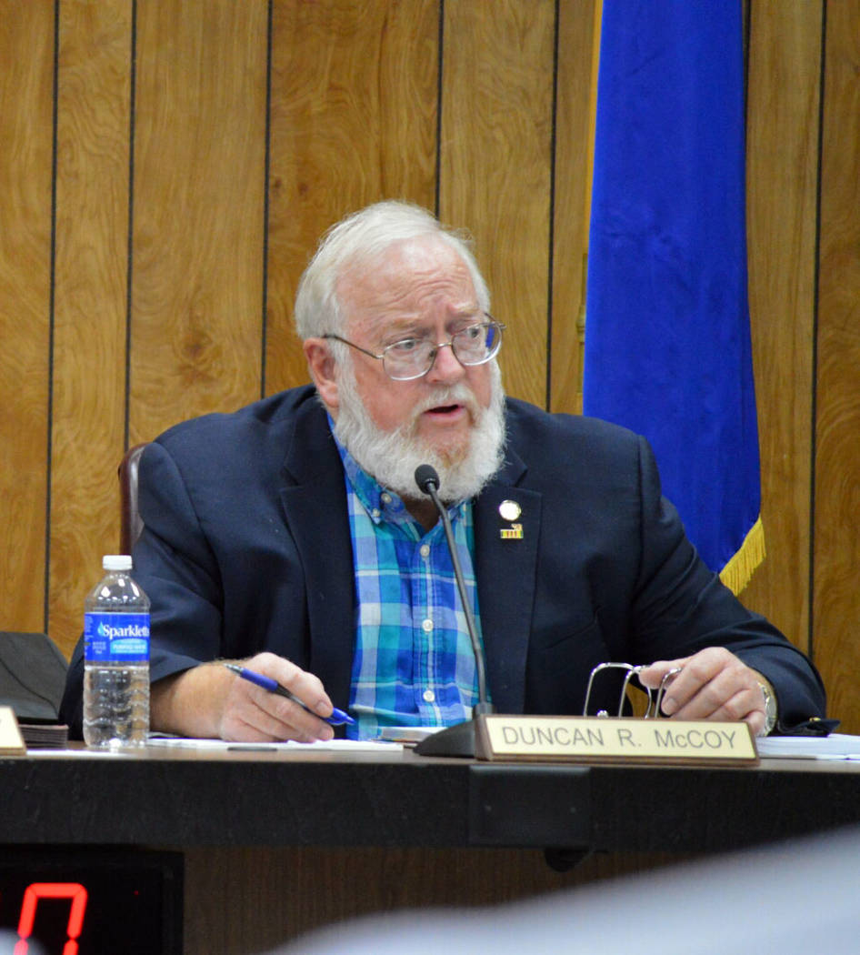 Celia Shortt Goodyear/Boulder City Review Councilman Duncan McCoy discusses the potential ballot question about development in Boulder City during their meeting Tuesday night.