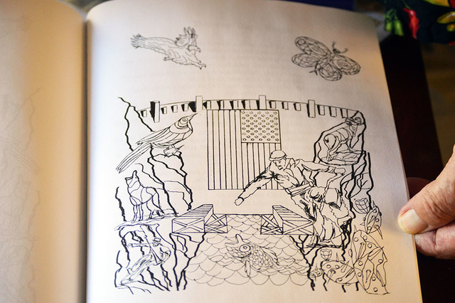 "Illustrations such as this fill Rudy Kraft's coloring book ""Let's Color Hoover Dam."" The strong lines in the picture of Hoover Dam, the flag, the rocks, and the animals are meant to guide  ..."