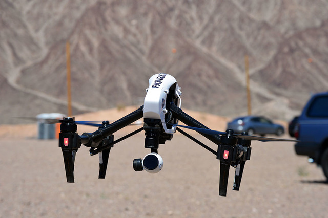 File photo A drone flies and records video at the Aerodrome droneport race track in Eldorado Valley earlier this year. Boulder City Council approved a five-year lease of land to build the first co ...