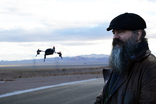Max Lancaster/Boulder City Review Scott Stevenson of London-based drone company Extreme Fliers smiles as he flies the Micro Drone 3.0 at the Drone Rodeo at the Eldorado Droneport on Jan. 4. The Mi ...