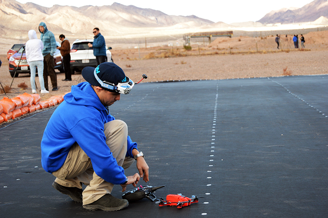 Max Lancaster/Boulder City Review Paul Beaur of drone company UVIFY adjusts the settings on its newest product, the Dracho Racing Drone, at the Eldorado Droneport on Jan. 4. Beaur and his company  ...