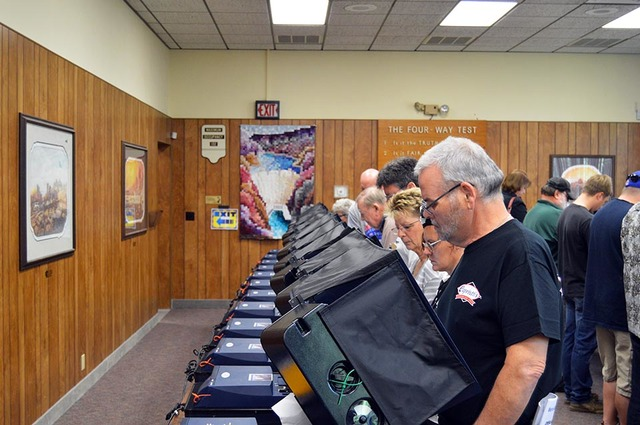 Early voters at the polls on Monday morning in City Hall. Boulder City residents were lined up out the door to make their voices heard. Max Lancaster/Boulder City Review