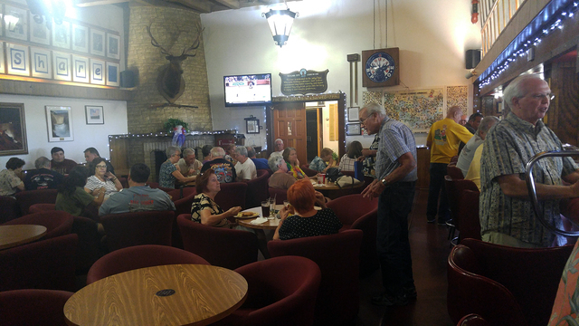 Hunter Terry/Boulder City Review Members of Boulder City Elks Lodge No. 1682 visit with each other on recent Monday night in the lodge's lounge.