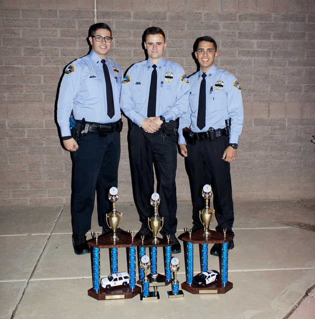 Courtesy photo Lt. Kevin Barakat, from left, Sgt. Giovanni Torcasco and Capt. Kenny Calzada are members of the Boulder City Law Enforcement Explorers, Post 198, which brought home home five trophi ...