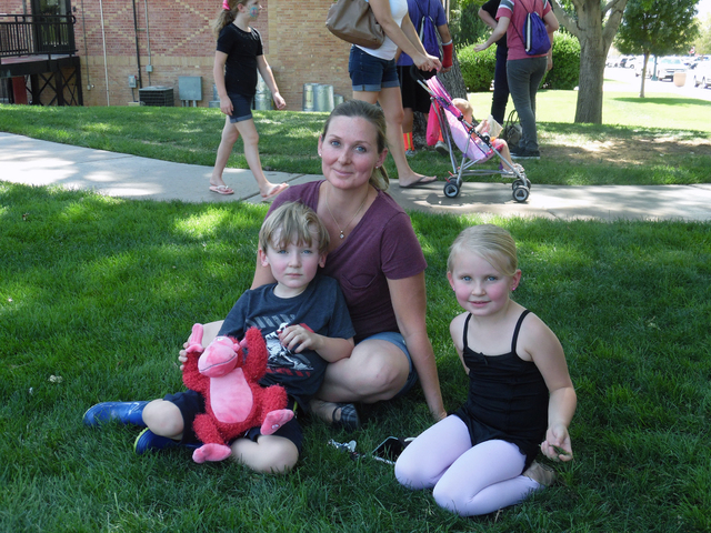 Hunter Terry/Boulder City Review Keri Shuman brought her 5-year-old son, Jack, left, and her daughter Meghan, 4, to the Fall Family Festival in downtown Boulder City on Saturday. The children were ...