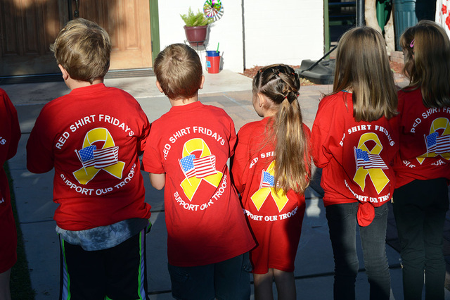 """Max Lancaster/Boulder City Review   Grace Christian Academy students wore red shirts to the school's flag retirement ceremony Friday morning, in honor of R.E.D. Friday. The acronym stands for """"r ..."""