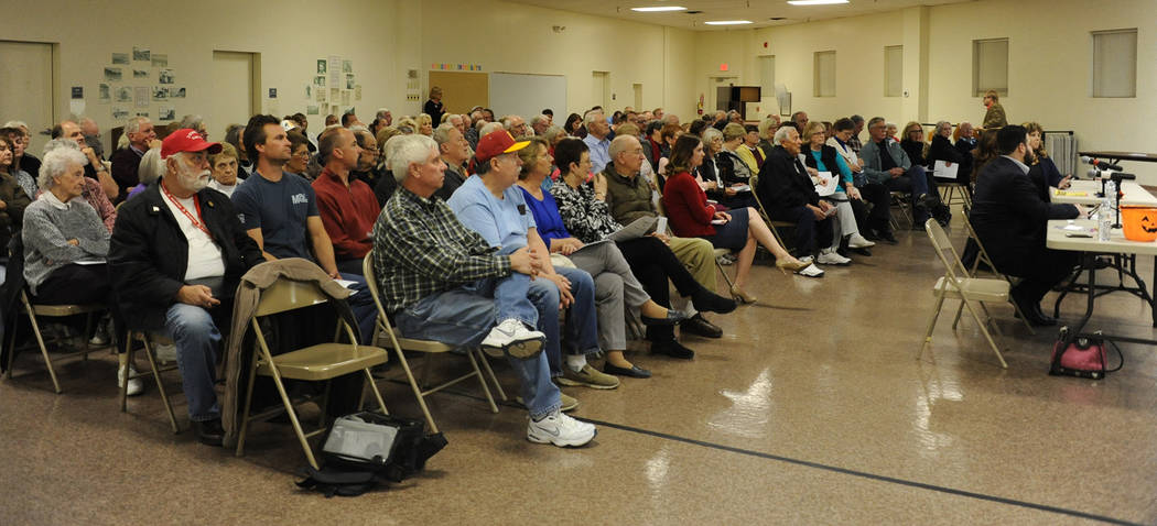 Photo courtesy Lee McDonald Several hundred residents came out to hear the eight men running for a seat on the Boulder City Council discuss their views and answer questions during an event Tuesday ...