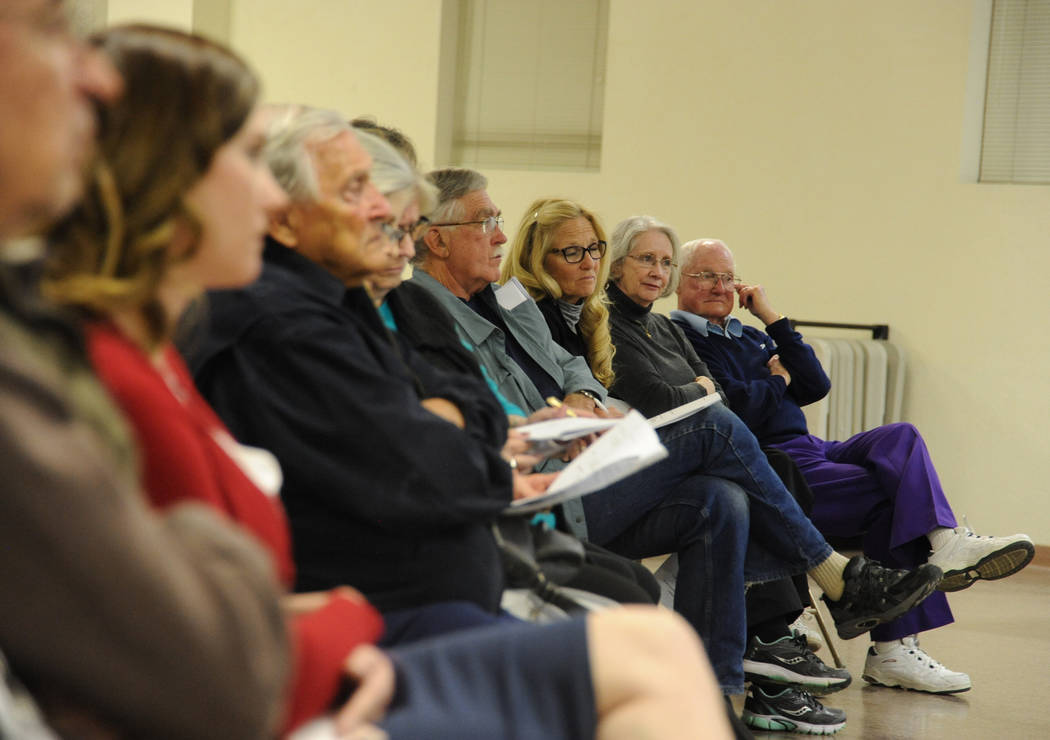 Photo courtesy Lee McDonald Boulder City residents listen to the candidates running for City Council during an event Tuesday hosted by the Boulder City Review and Boulder City Chamber of Commerce  ...