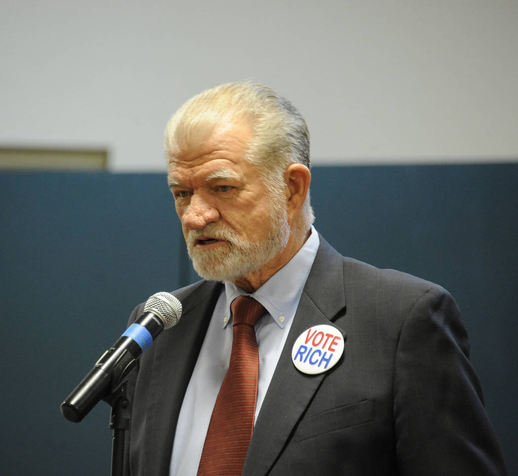 Photo courtesy Lee McDonald Rich Loudin, who is running for a seat on the Boulder City Council, speaks during the candidates night Tuesday, March 7, 2017, at the Elaine K. Smith Center.