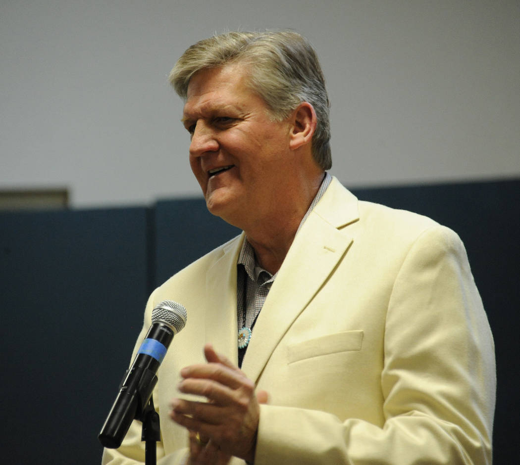 Photo courtesy Lee McDonald Eric Lundgaard, who is running for a seat on the Boulder City Council, speaks during the candidates night Tuesday, March 7, 2017, at the Elaine K. Smith Center.