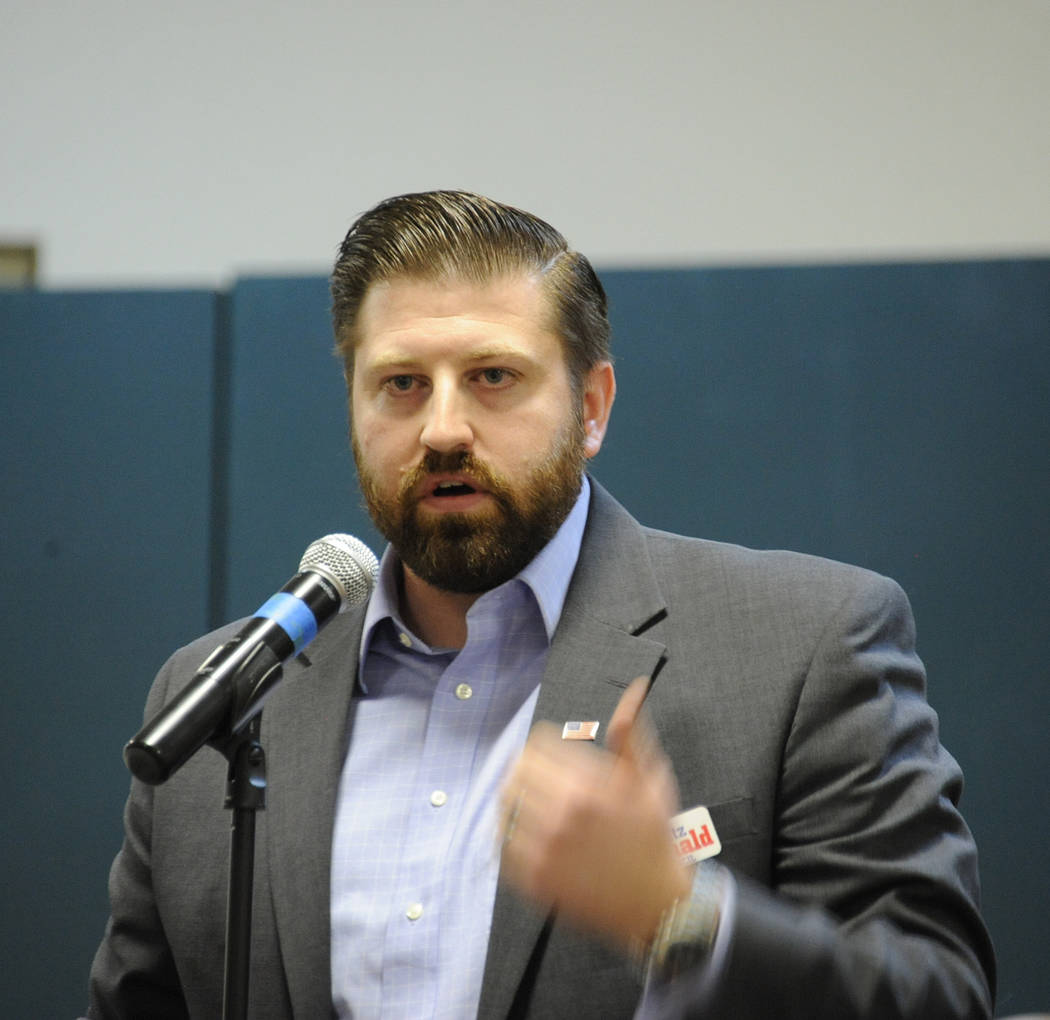 Photo courtesy Lee McDonald Fritz McDonald, who is running for a seat on the Boulder City Council, speaks during the candidates night Tuesday, March 7, 2017, at the Elaine K. Smith Center.