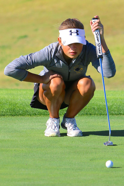 Laura Hubel/Boulder City Review Boulder City High golfer Lani Potter, seen playing in Boulder City earlier this year, won the state's individual championship for the 3A division Tuesday, shooting  ...