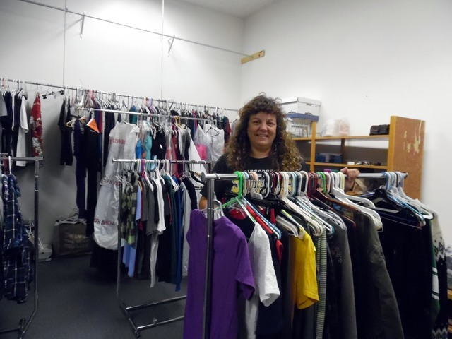 Hali Bernstein Saylor/Boulder City Review Barbara Agostini is surrounded by clothes donated to the Eagles Closet that she maintains at Boulder City High School for those in need.