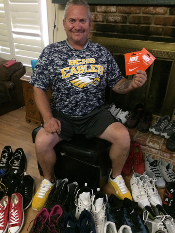 Hali Bernstein Saylor/Boulder City Review Robert Pavlowski is surrounded by some of the shoes in his collection. The Boulder City resident has donated some from his personal collection and is gath ...