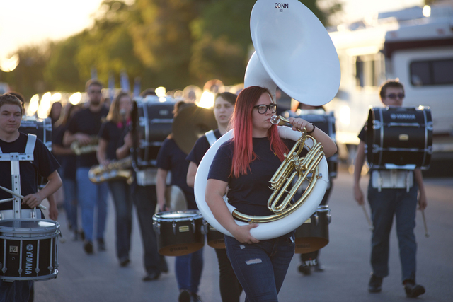 Noel Kanaley/Boulder City Review The marching band from Boulder City High School helped raise school spirit during the homecoming parade Sept. 29, 2016.