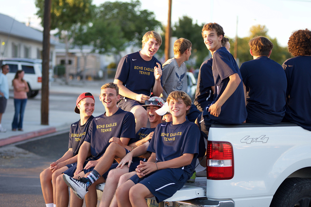 Noel Kanaley/Boulder City Review Members of the boys tennis team from Boulder City High School display their school spirit during the homecoming parade Thursday, Sept. 29, 2016.