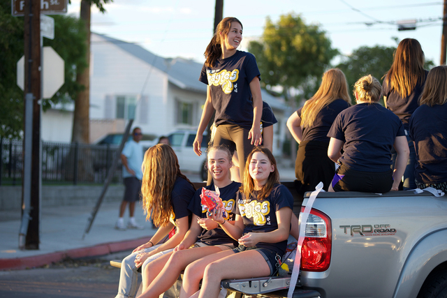 Noel Kanaley/Boulder City Review Boulder City High School's volleyball team was full of energy as it took part in this year's homecoming parade on Thursday, Sept 29, 2016. Students came dow ...