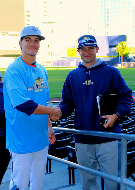 Courtesy photo After committing to play at San Diego Christian College, Jake Hubel, left, a senior at Boulder City High School, had the opportunity to meet his new head coach, Landon Burt, at the  ...