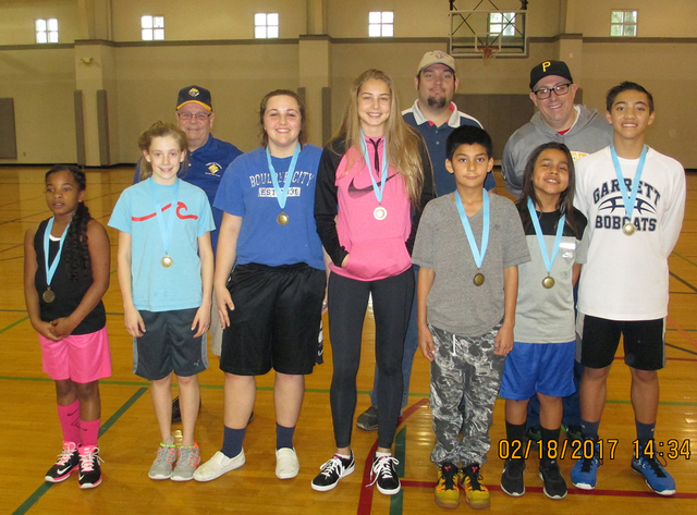 Courtesy photo  The Knights of Columbus, District 12, held its basketball free throw championship contest Feb. 18 in the gymnasium at the Boulder City Recreation Center. Winners, front row, from l ...