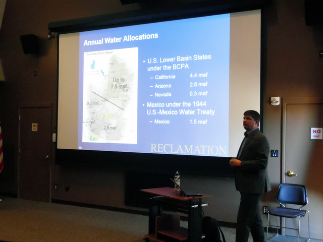 Hunter Terry/Boulder City Review  Dan Bunk of the Bureau of Reclamation spoke Saturday as part of Lake Mead National Recreation Area's panel on sustainability and energy innovation.