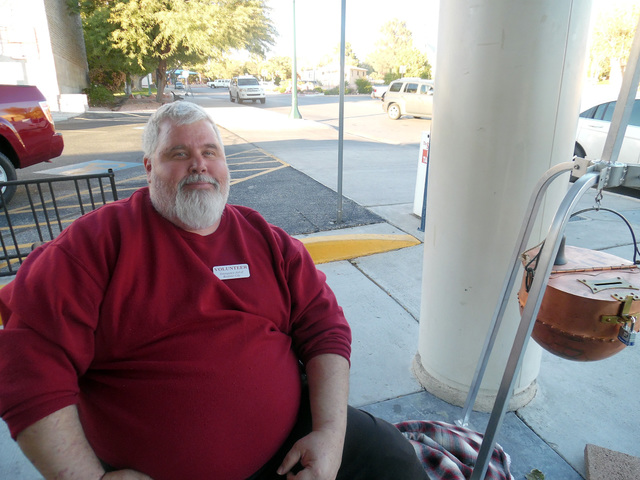 "Hunter Terry/Boulder City Review Mike Derby of Boulder City ""I'm thankful for my family, the help my mother has given me and to have another year of life."""