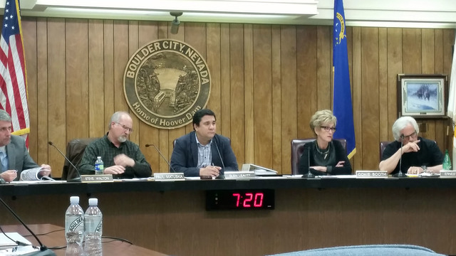 Celia Shortt Goodyear/Boulder City Review Boulder City Planning Commissioners from left, Steve Walton, Paul Matuska, Glen Leavitt, Cokie Booth, and Ernest Biacsi, listen to a staff report at their ...
