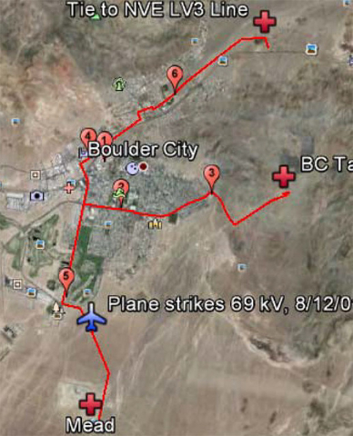 This map shows the locations of the six main substations in Boulder City. It would cost the $45 million to completely upgrade the city's electrical system. Courtesy of SAIC