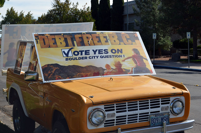 """Max Lancaster/Boulder City Review A truck was parked in front of Boulder City Hall on Tuesday in support of a yes vote on Boulder City Question 1. The signs that say """"Debt Free BC"""" were posted all ..."""