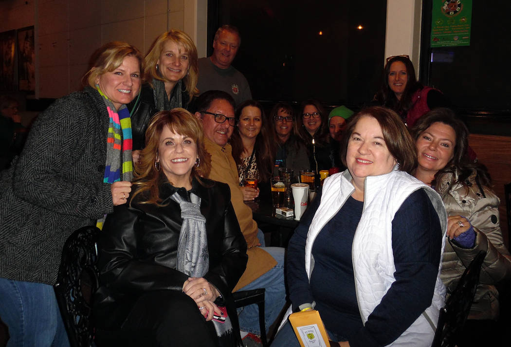 Hali Bernstein Saylor/Boulder City Review Members of the Xi Zeta sorority and their friends gathered Friday evening for the first Rosie Roll, a fundraising pub crawl in downtown Boulder City. Proc ...