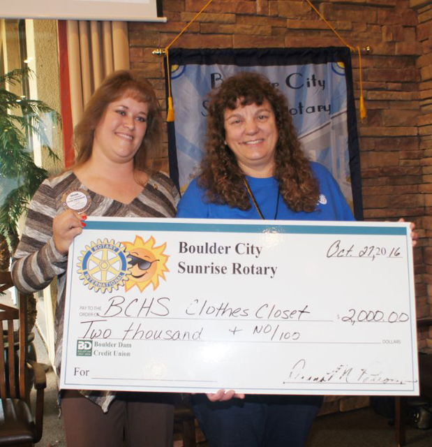Photo courtesy Roger Hall Deana Parsons, left, president of the Boulder City Sunrise Rotary Club, presents a check for $2000 to Barbara Agostini, founder of the Eagles Closet at Boulder City High  ...