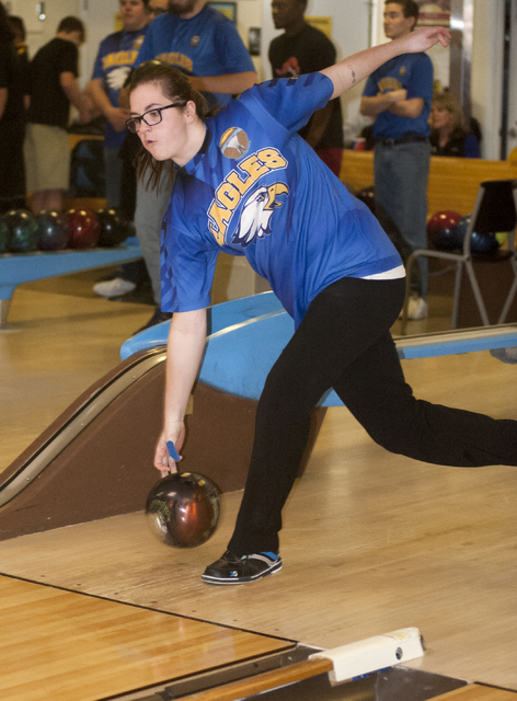 Steve Andrascik/Boulder City Review Boulder City High School senior Abigail Harling shows her winning form in the contest against Del Sol at the Boulder Bowl on Jan. 25. She had games of 152, 159, ...