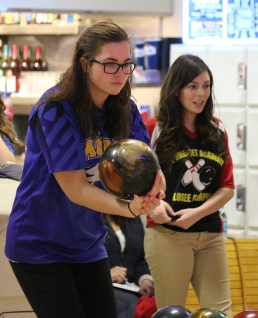 Laura Hubel/Boulder City Review Boulder City High School senior Abigail Harling bowled a series-high 519 during the team's match against Somerset Academy-Losee on Monday.