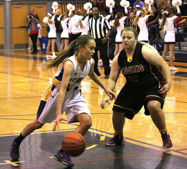 Laura Hubel/Boulder City Review Boulder City High School freshman Keely Alexander was the top Lady Eagles' top scorer in their Dec. 14 home game against Pahrump Valley. Alexander scored 8 of the t ...