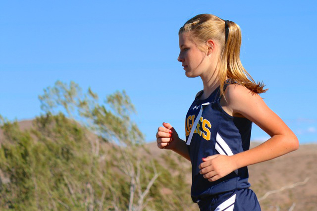 Laura Hubel/Boulder City Review Boulder City High School junior Sierra Selinger, seen running during a cross-country meet in September 2015, helped the Lady Eagles place fifth in the state champio ...