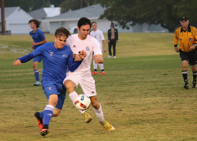 Laura Hubel/Boulder City Review Boulder City High School senior Hunter Dale was a strong force on the field with the Eagles, managing to hold the Moapa Valley Pirates allowing no shots to score du ...