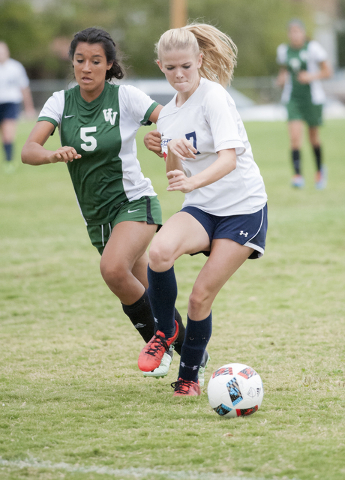 Steve Andrascik/Boulder City Review Boulder City High School senior Jordan Trobiani moves the ball during the home match against Virgin Valley on Tuesday. The Lady Eagles lost 6-2. Trobiani scored ...