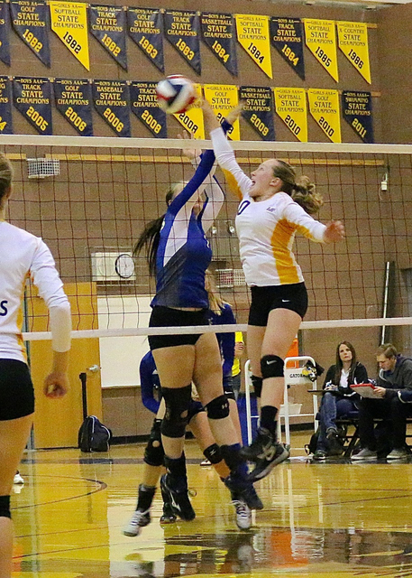Laura Hubel/Boulder City Review Boulder City High School volleyball team co-captain Alea Lehr had a record-high 27 assists in the Lady Eagle's 3-1 loss to Moapa Valley on Sept. 28.