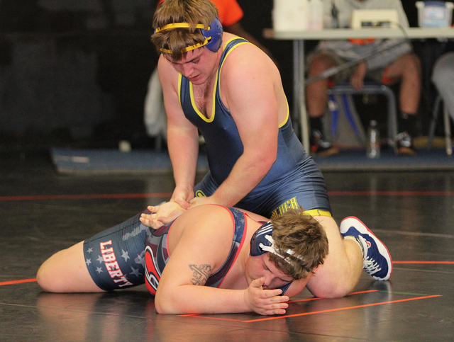 Photo courtesy Rich Viera Boulder City High School senior Devin Fox, who wrestles in the 220-pound class, won first place during the Chaparral Invitational on Friday and Saturday.