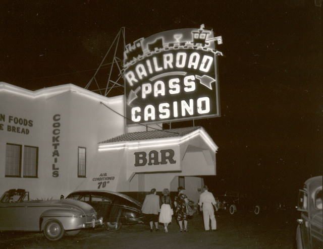 A vintage photograph of the Railroad Pass hotel-casino, circa 1940, is shown in this photo courtesy of MGM Resorts International. The resort marks its 85th anniversary with a celebration Saturday  ...