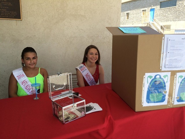 Boulder City residents Madison Stuart, 2016 Nevada State princess, and Taylor Blatchford, 2016 Miss Las Vegas Outstanding Teen, are helping HomeAid Southern Nevada collect school supplies for home ...