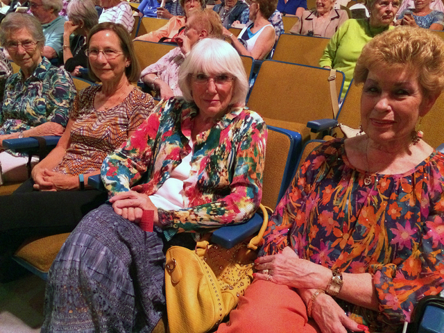 Hali Bernstein Saylor/Boulder City Review Enjoying the Boulder City Chautauqua performance Saturday at the historic Boulder Theatre were, from left, Doris Haueter, Marta Norton, Alice Miller and J ...