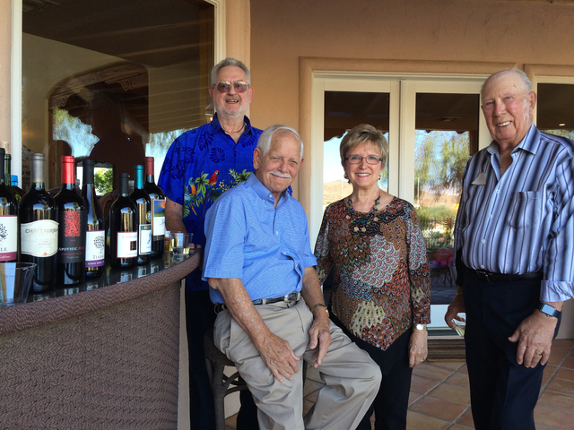 Hali Bernstein Saylor/Boulder City Review Among those attending a special reception with the Chautauqua scholar on Friday were, from left, Jay Richey, Stan Mazza, Jody Tilman and Don Davis. The re ...
