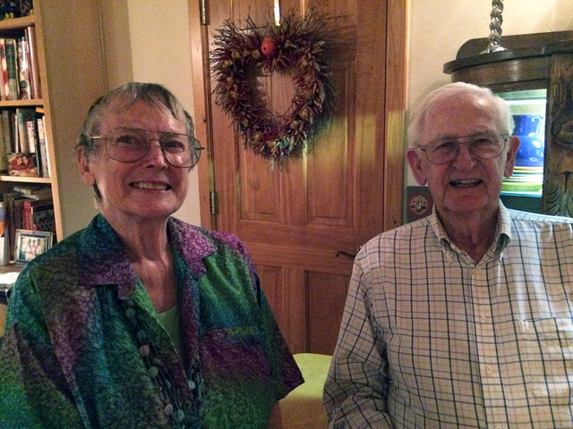 Hali Bernstein Saylor/Boulder City Review Longtime Boulder City Chautauqua committee members Barbara and Paul Adams were on hand Friday to help organize a special reception for donors that gave th ...