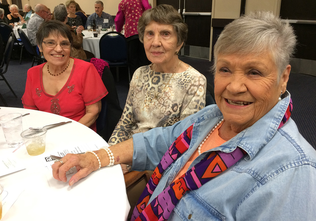 Hali Bernstein Saylor/Boulder City Review Enjoying the festivities at the Boulder Dam Credit Union's annual meeting Feb. 15 at the Henderson Convention Center were, from left, Roberta Carlin, Shir ...