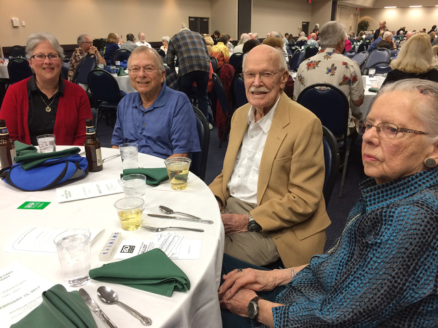 Hali Bernstein Saylor/Boulder City Review Sue Jungwirth, from left, Larry Jungwirth, Floyd Woods and Phyllis Van Alstine spent time visiting before the start of the Boulder Dam Credit Union's annu ...