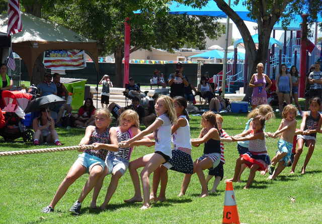 Tug of war was one of many competitions held at Broadbent Park during the 68th annual July Fourth Damboree celebration Monday, July 4, 2016. Hunter Terry/Boulder City Review