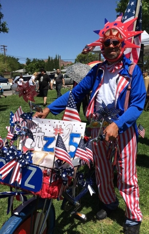 Casimer Kusak won a special award for his patriotic attire and decorations after the Damboree parade on Monday, July 4, 2016. He was presented with a hat and sunglasses after winning several troph ...