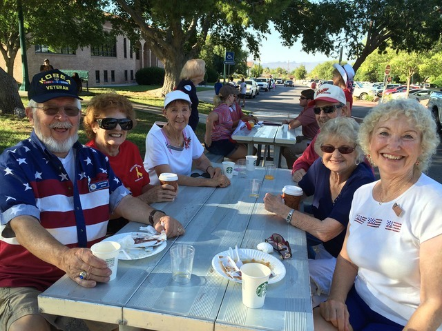 After enjoying the Rotary Club of Boulder City's pancake breakfast in Bicentennial Park on Monday, July 4, 2016, members of the Sons of Norway await the start of the Damboree parade. Pictured are, ...